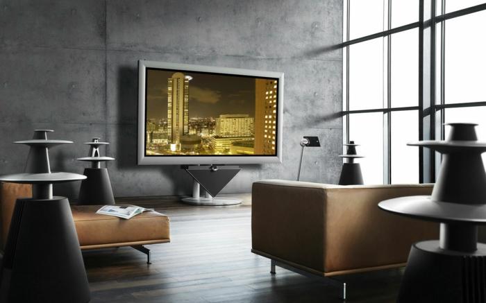 decoration contemporaine, tv murale moderne, canapés épurés et endutit béton ciré