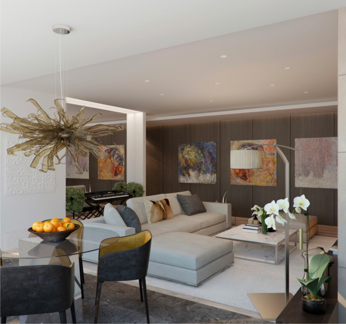 decoration contemporaine, table ronde en verre, chaises grises, canapé girs pâle et tapis claire