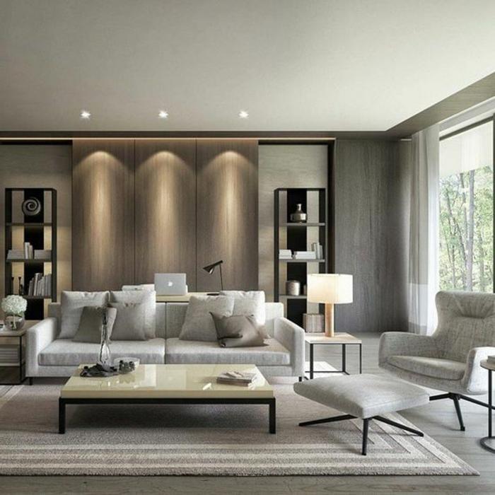 decoration contemporaine, éclairage encastré, table rectangulaire en couleur claire