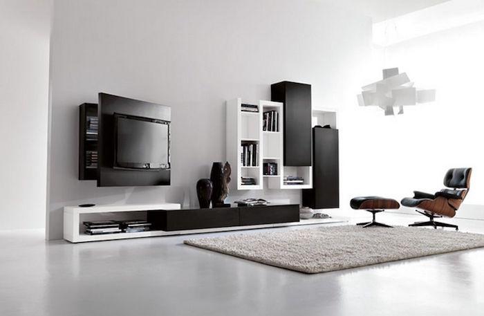 salon appartement design meubles modernes deco blanc noir
