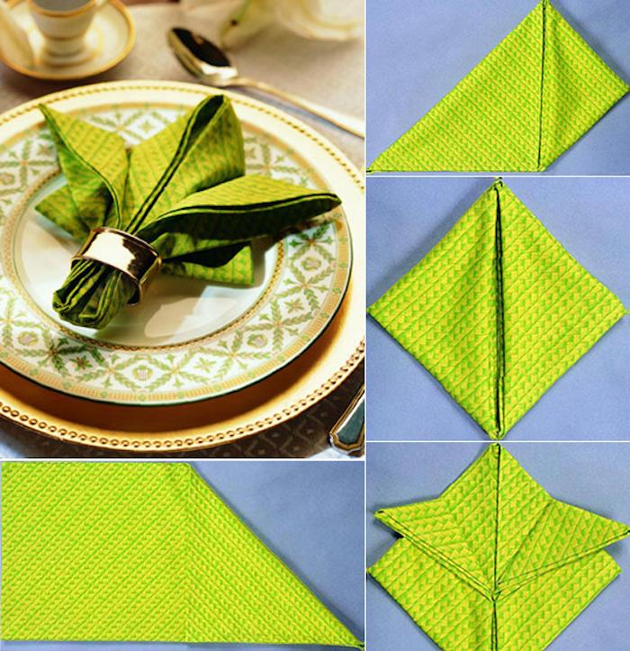 pas à pas tuto avec photos, pliage de serviette en tissu avec rond de serviette doré, service en vert et or