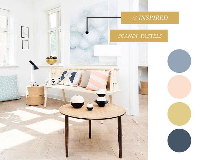 salon mur blanc, idée quelle palette de couleurs choisir, nuances pastel pour l'intérieur, lampe sur pied noire, banc en bois