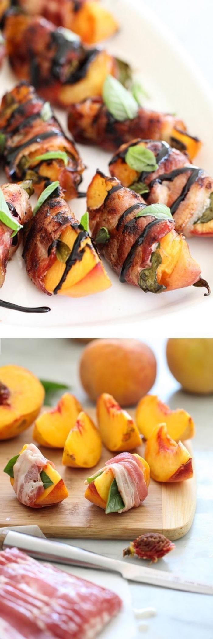 recette entre amis, des tranches de pêche, enveloppés de bacon, lardons et feuilles de basilic, réduction de vinaigre de balsamique