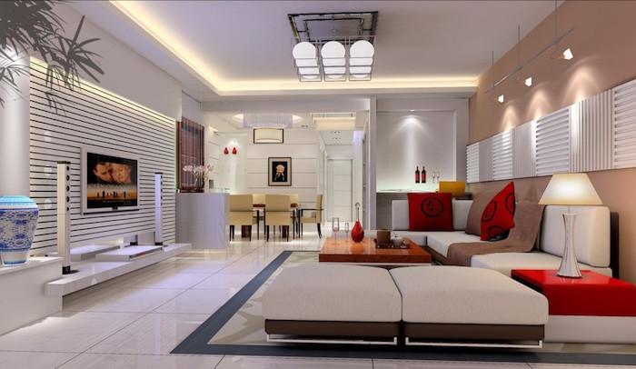 idée salon contemporain avec deco moderne et design