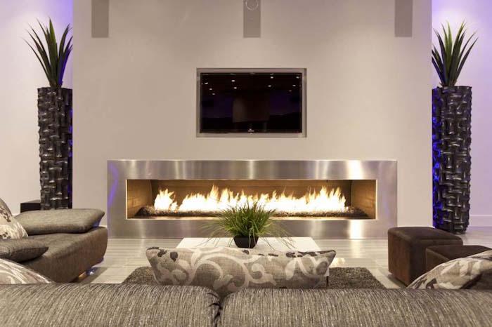 meuble salon moderne design avec cheminée de luxe
