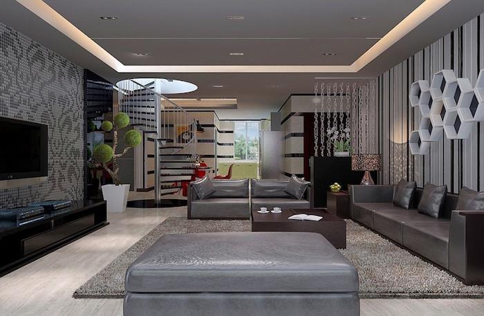 idee deco design de salon luxe canapé en cuir