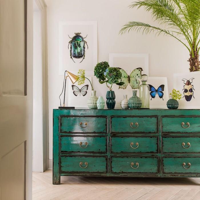 deco moderne, murs blancs avec photos insectes, plantes tropicales, meuble peint en vert, revêtement de sol en bois