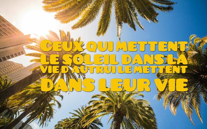 phrase sur la vie, image palmiers et ciel avec lettres inspirantes en jaune, fond d'écran bureau