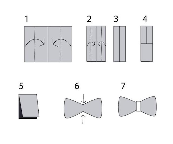 schéma de pliage de serviette, réaliser un ruban décoratif origami, déco de table avec serviette et rond de serviette