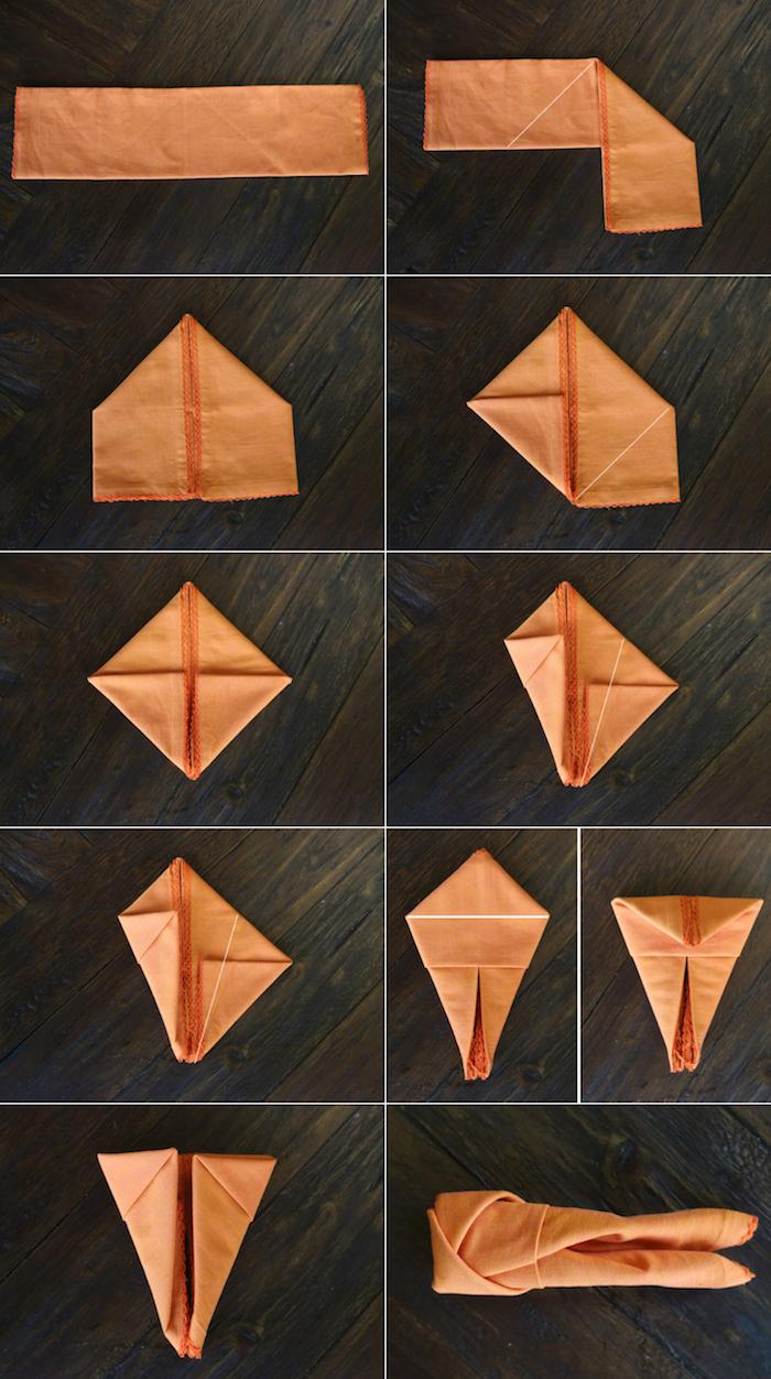 images à suivre pour plier une serviette en tissu, tutoriel pour déco table avec serviette orange