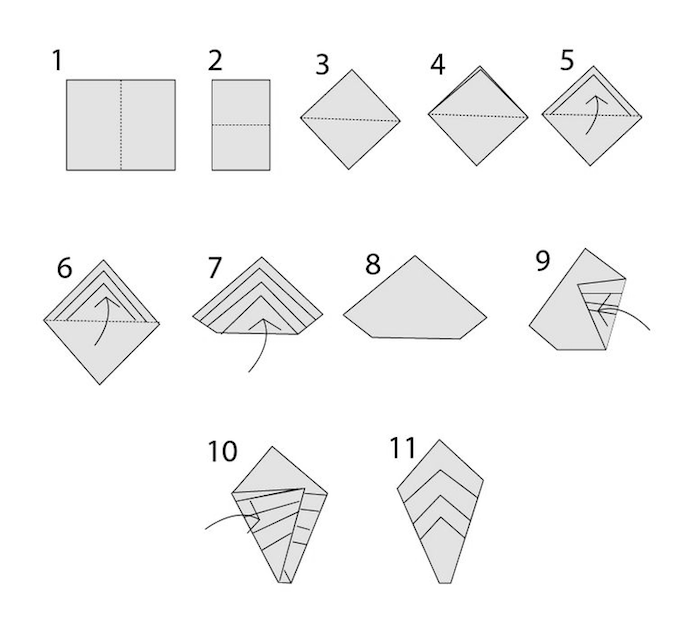 méthode de pliage serviette en papier, schéma avec technique origami pour faire une déco de table