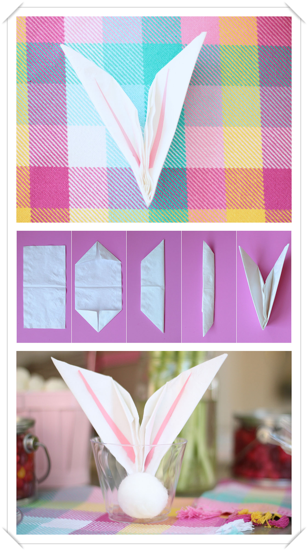 pliage de serviette en papier facile, déco de table pâques, récipient en verre avec serviette origami lapin