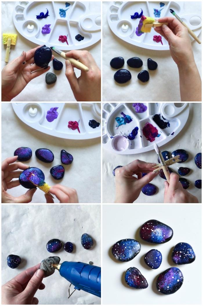 une activité créative pour enfant facile et amusant avec galets décoratifs, des galets galaxie aimantés pour la fête des père
