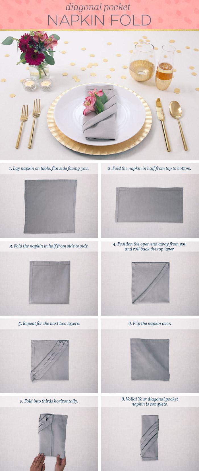 guide avec instructions pour apprendre origami, pliage de serviette en tissu gris, couverts de table dorés