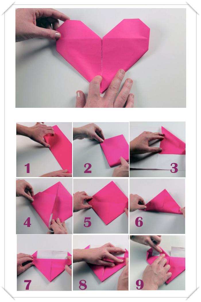 activité créative, instructions en photos sur comment plier une serviette en papier, coeur origami en serviette rose