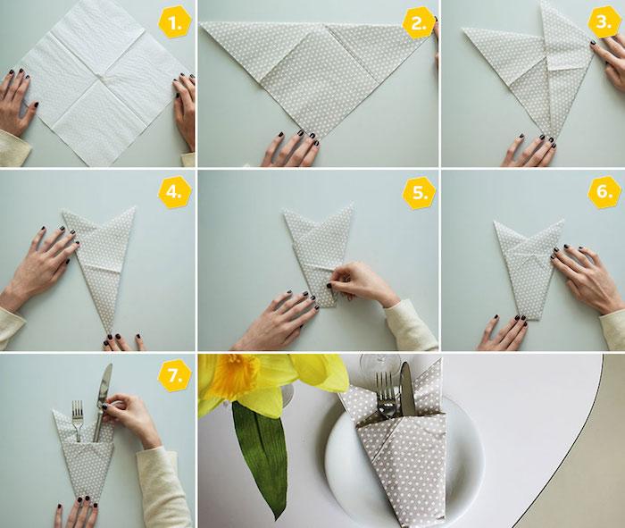 tutoriel avec images pour apprendre origami, pliage de serviette en papier gris à points blancs
