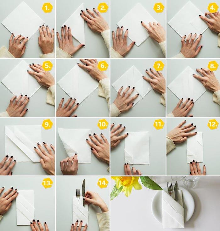 tutoriel avec photos pour apprendre à plier une serviette, arrangement de table élégant