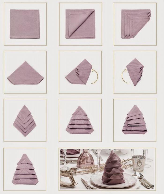 activité manuelle pour femme, instruction comment plier une serviette, déco de table de noel