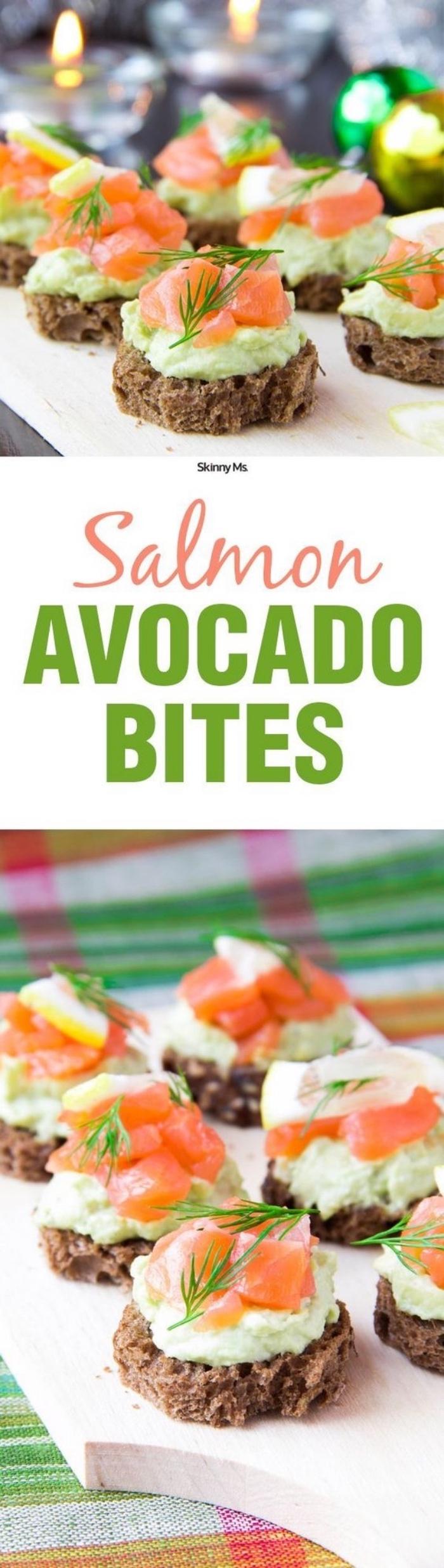 des rondelles de pain complet avec une mousse d avocat et yaourt et des tranches de saumon, recette entre amis, spécialité espagnole