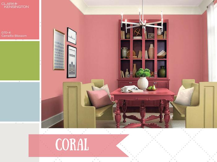 nuancier de corail et couleurs associées rose vert bleu gris