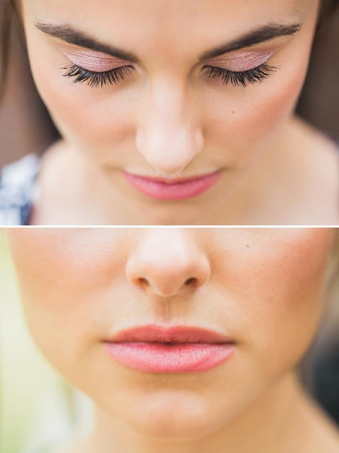 un tutoriel maquillage facile à reproduire pour un maquillage monochrome aux nuances de rose, look de mariée romantique et délicat