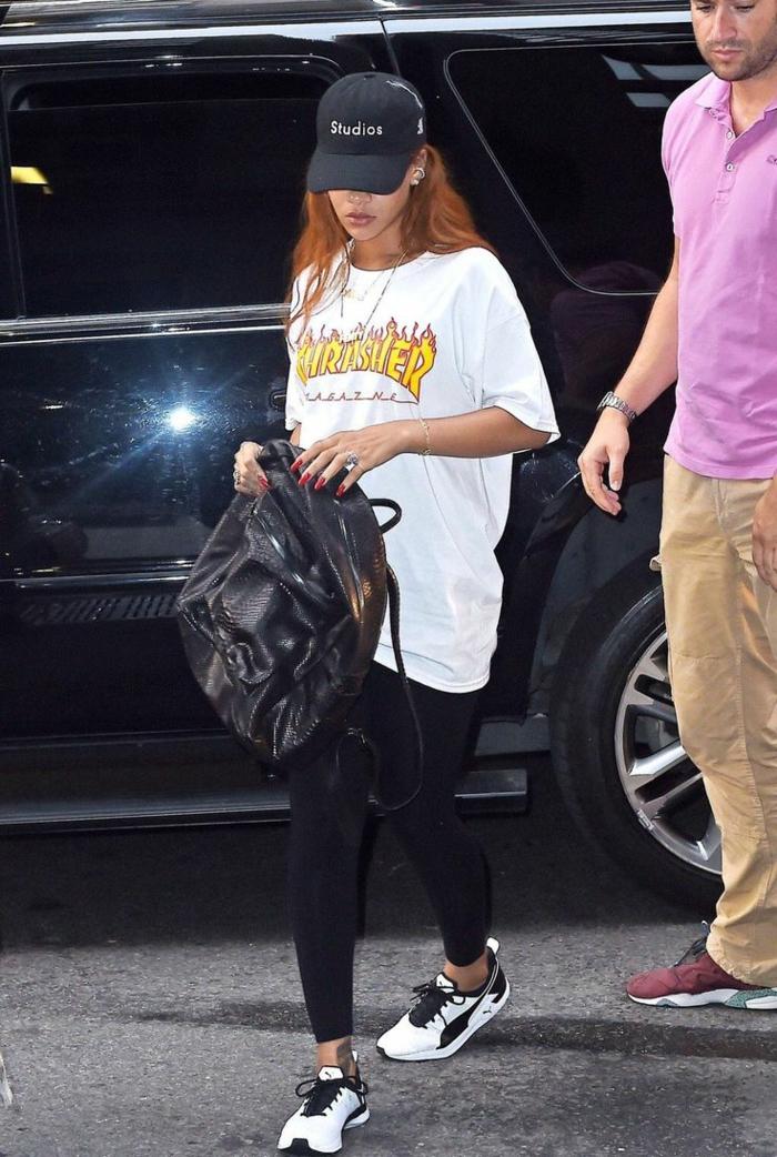 La tenue de sport fille habiller swag tenue noire et blanche Rihanna