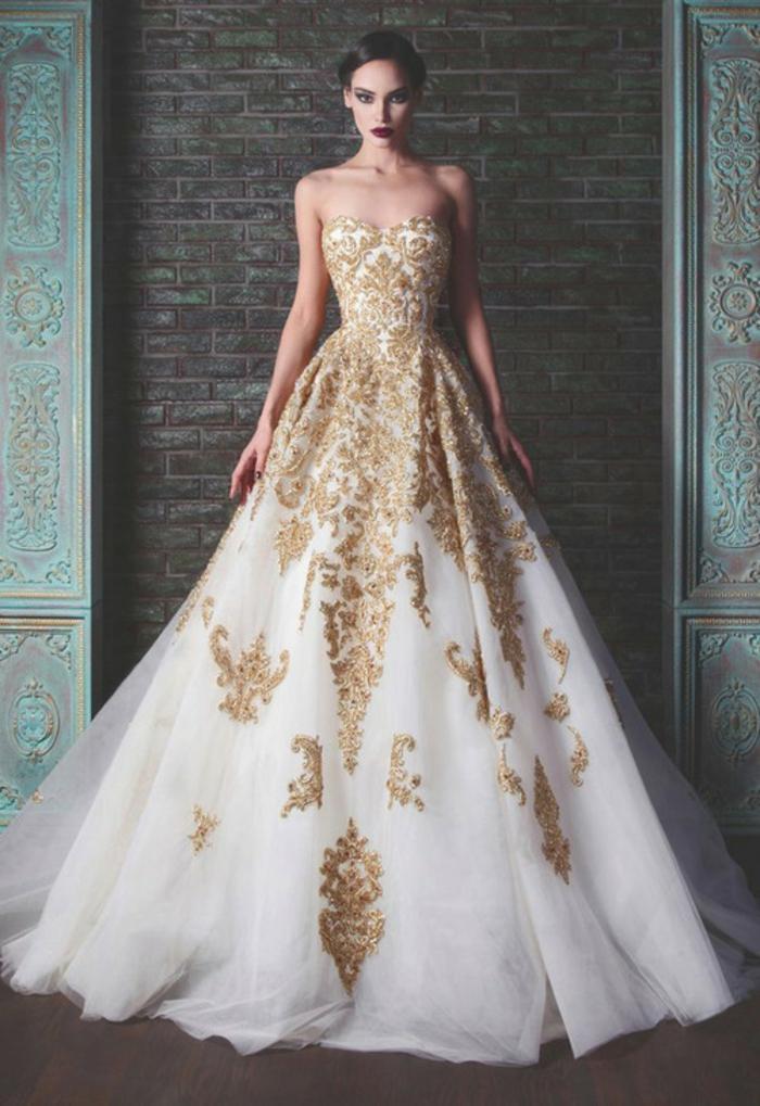 Robe moderne robe de mariée pas cher princesse la robe de mariée dorée