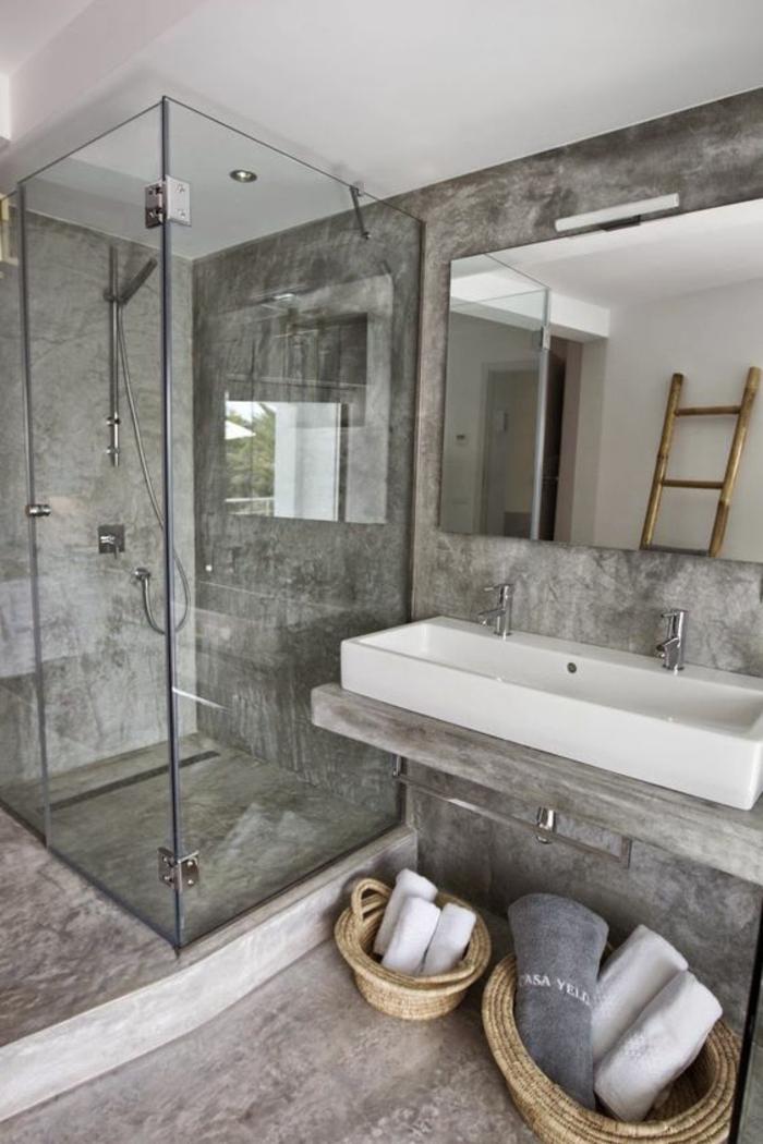 quelle couleur associer au gris perle salle de bain douche italienne parois en verre transparent
