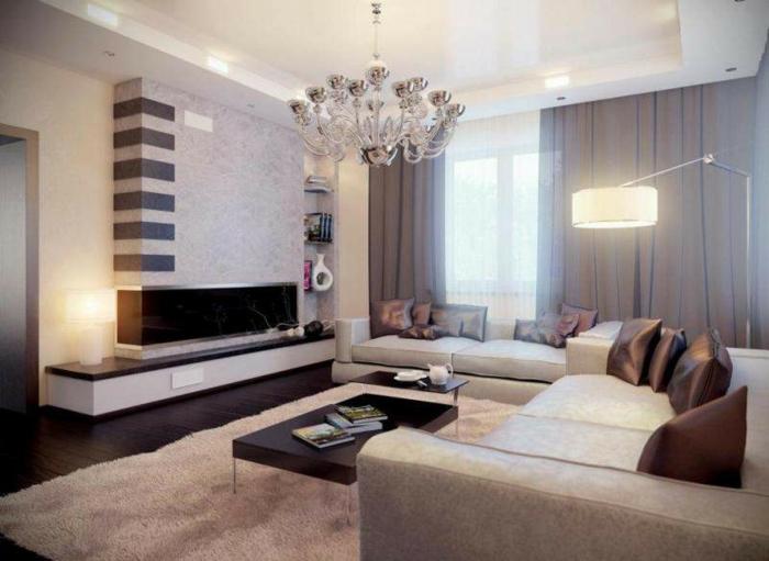 idée déco salon moderne, plafonnier baroque, rideaux lours gris, grand lampadaire de sol