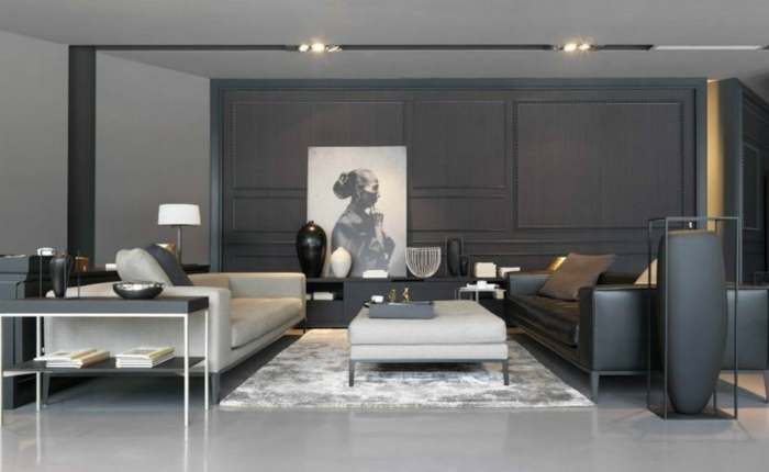 Idée Déco Salon Moderne, Sofas Linéaires, Tapis Gris Clair, Revêtement  Mural Gris Anthracite