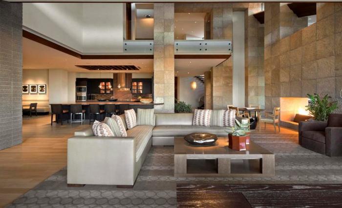idée deco salon moderne, villa moderne, cuisine ouverte sur salon, table carrée, canapé d'angle