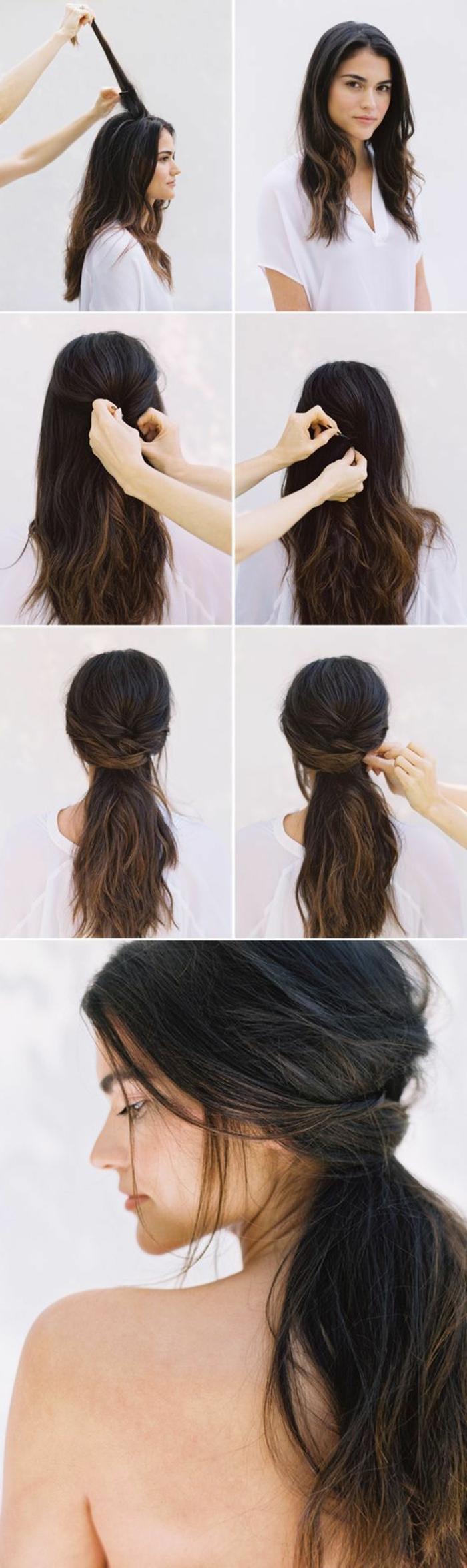 idée comment porter ses cheveux en queue de cheval originale, cheveux ramenés en arrière, style boheme décoiffé