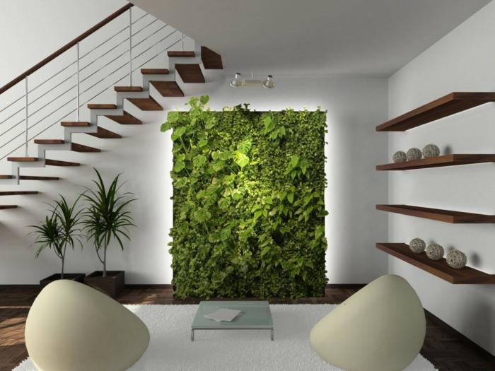 déco de jardin zen a l intérieur d une maison moderne écolo, un mur en végétation verte, plantes dans des pots, tapis et fauteuils blancs