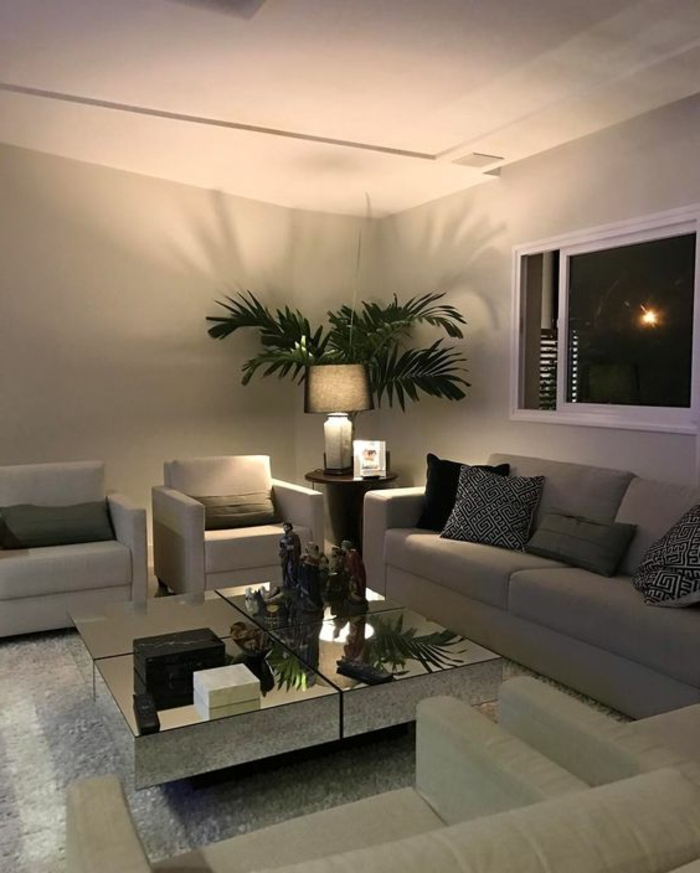 idée deco salon, ambiance grise, plante exotique, table métalisée et tapis gris clair