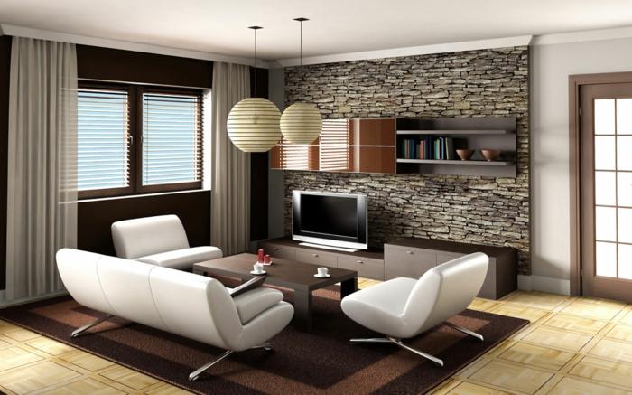 idée deco salon, canapés blancs, table en bois et lampes boules blanches, tapis marron