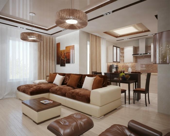 idée deco salon, mobilier en marron et blanc, sol planches de bois, plafonniers ronds, coussins de sol en cuir