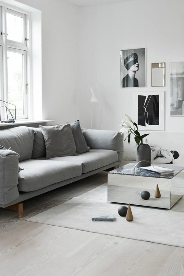 idée deco salon, table carrée finition métalisée, portrait artistique, sofa style vintage scandinave