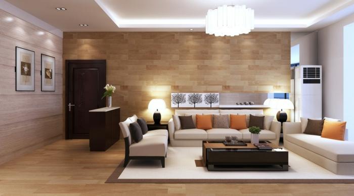 idée deco salon,lambris de bois, table rectangulaire, sofas beiges, tapis moderne