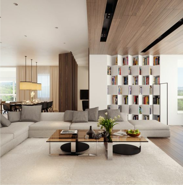 idées déco salon, étagère blanche contemporaine, table rectangulaire en verre et métal, coin déjeuner spacieux