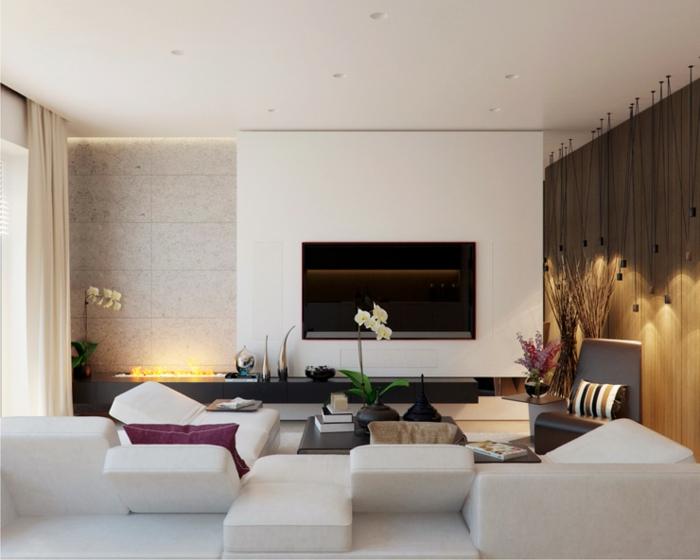 idées déco salon, ampoules suspendues, écran plat suspendu, orchidées blanches, mobilier minimaliste