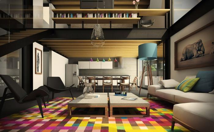 idées déco salon, deux longues tables, tapis aux couleurs vives, salon avec mezzanine, mobilier mdderne