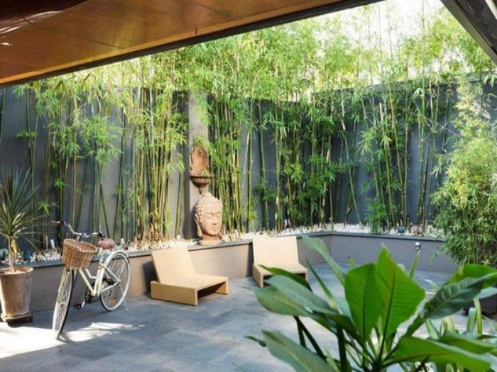 jardin zen dans une maison contemporaine, dalles de pierre, chaise longues, bicyclette, tête de bouddha et bambou