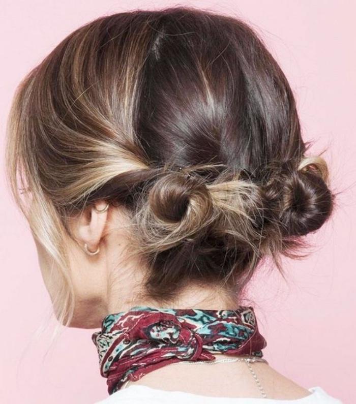 comment faire des macarons de cheveux soi meme, idée coiffure cheveux mi long, effet décoiffé