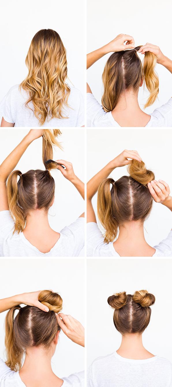 tuto coiffure facile, cheveux longs bouclés, fille blonde, comment faire des macarons hauts, petits chignons à aprtir de queue de cheval