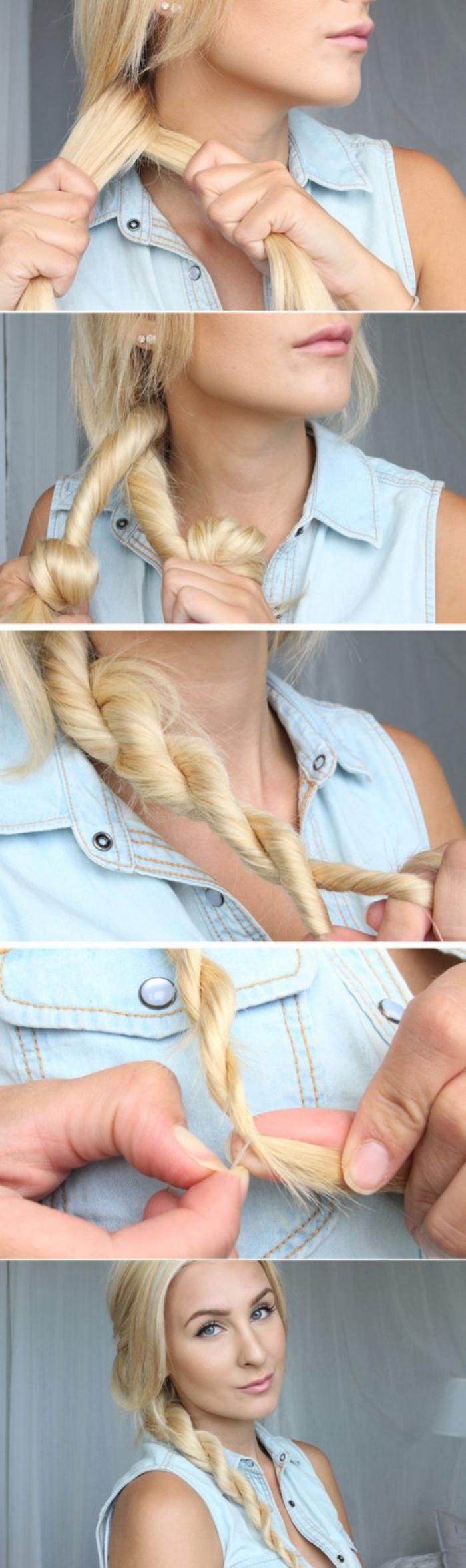comment faire une tresse simple à partir de deux mèches entortillées et tressées, cheveux longs blonde