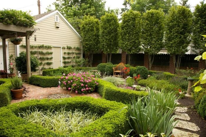 amenagement jardin avec chemin de peirres, buis en formes géométriques, arbustes fleuris, cloison d arbres couronnes vertes, banc en bois, pergola en bois