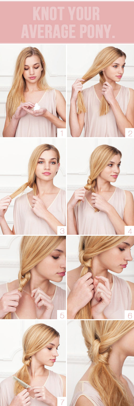 idée de queue de cheval avec un noeud de cheveux, tuto coiffure facile, cheveux longs, fille blonde, étape par étape