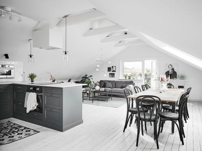 cuisine équipée avec ilot cuisine gris, parquet blanchi, tapis et canapé couleur grise, table basse, aménager un eptit salon salle à manger avec table en bois et chaises noires