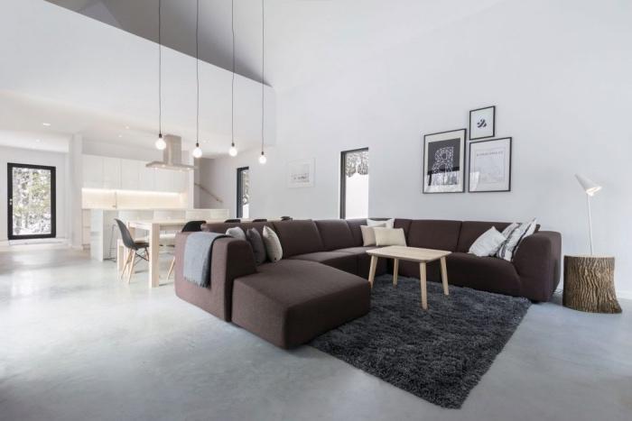 amenager petite cuisine ouverte sur salon, façade cuisine blanche, table et chaises en bois, canapé marron, tapis gris, table basse en bois, revêtement sol aspect béton suspensions ampoules