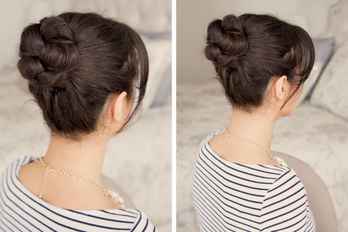 une tresse simple transformée en chignon facile, idée de coiffure femme élégante, occasion spéciale